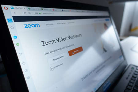 Berlin, Germany - April 13 2020: Zoom.us website. Zoom Video Communications, Inc., is an American remote conferencing services company