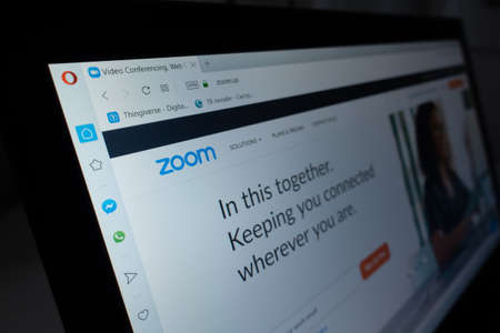 Berlin, Germany - April 13 2020:  Zoom.us website. Zoom Video Communications, Inc., is an American remote conferencing services company Sajtókép