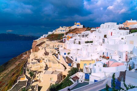 Oia village architecture on the Greek island of Santorini Imagens