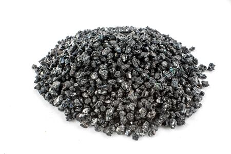 Silicon carbide in petri dish on white background