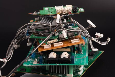 electronic PCB garbage as background from recycle industry and old consumer devices Banque d'images