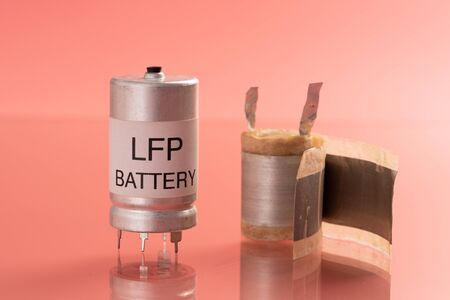 Lithium iron phosphate battery  LiFePO  or LFP battery  lithium ferrophosphate , is a  lithium-ion battery using LiFePO  as the cathode, and graphitic carbon electrode  as the anode. Foto de archivo