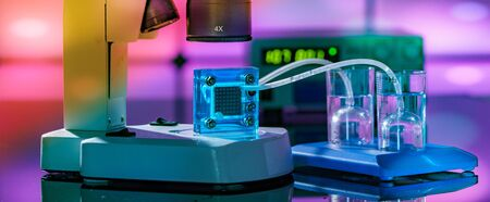 Hydrogen fuel cell in a research laboratory Stock Photo
