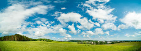 Wide Panorama Landscape in Germany in the Summer with blue sky and sun shine. 写真素材 - 154993869