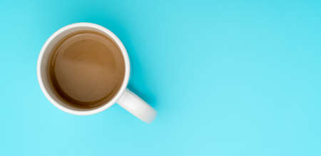 Top view, flat lay of black coffee cup on background blue 写真素材 - 154993940