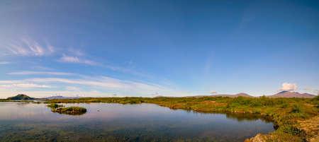 Calm lake in iceland landscape 写真素材 - 154888159