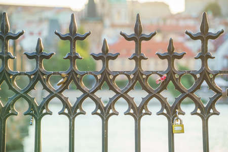 View of the Prague castle through a metal fence 写真素材 - 155013194