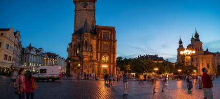 Prague, Czech Republic - September 15, 2018. Prague at night - Old Town Square - The Church of Mother 報道画像