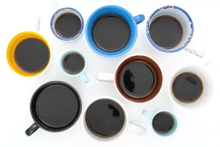 Many cups of coffee on table flat lay copy space