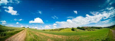 Panorama of a summer field in a European village