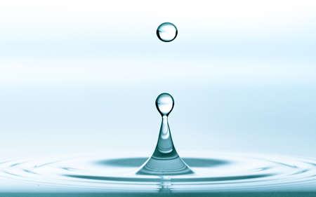Water splash of falling drop with circular waves