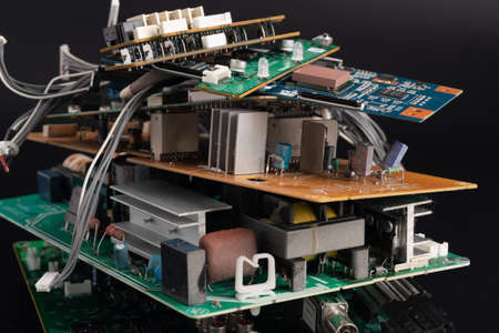 electronic PCB garbage as background from recycle industry and old consumer devices 写真素材