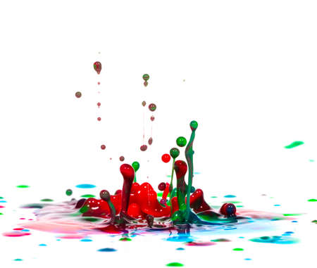 Splash of color ink or paint on white background