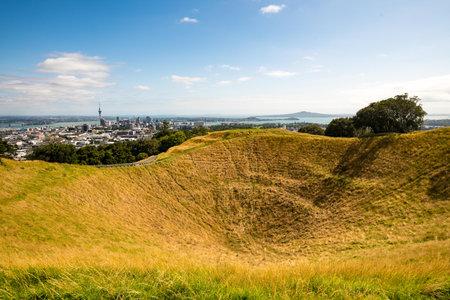 Volcano crater in Auckland, New Zealand