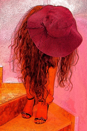 fastens: A girl fastens shoes,long hair, rose hat Stock Photo