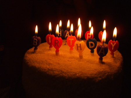 lighted: Birthday cake with lighted baloon candles