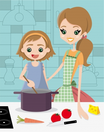 Learn to cook  A mother with her daughter  Vector
