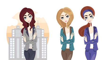 zakelijke vrouw: business woman in city Stock Illustratie