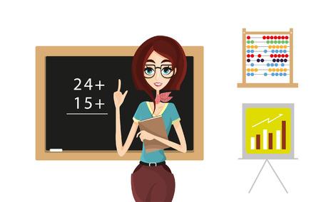 profesor alumno: Mujer del profesor o de negocios en el aula o en la oficina. Conjunto de diversos elementos para el fondo. Vectores