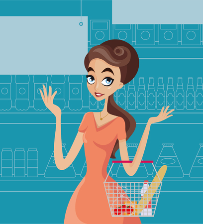 woman credit card: Girl at supermarket