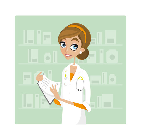 girl stethoscope: woman doctor with documents.