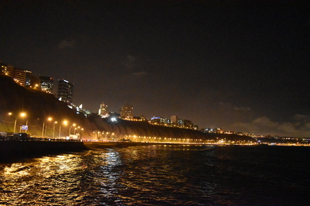 miraflores: Miraflores coast at night, Lima, Peru