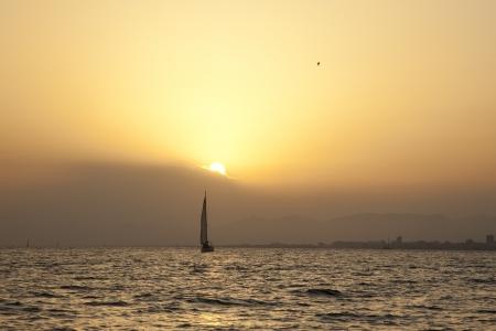 landscape image of sunset at sea