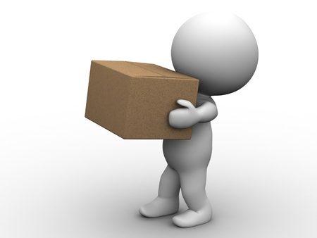 man carrying box: 3D Man Carrying Box Stock Photo