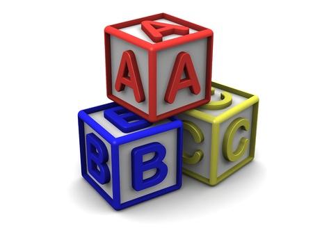 A B C Letters Cubes Stack Banque d'images