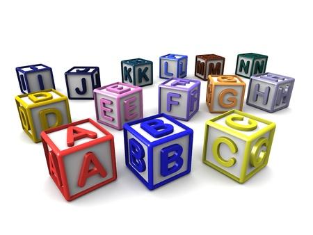 blue 3d blocks: A-N Letters Cubes