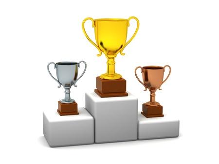 Podium With Trophies Stock Photo - 18953831