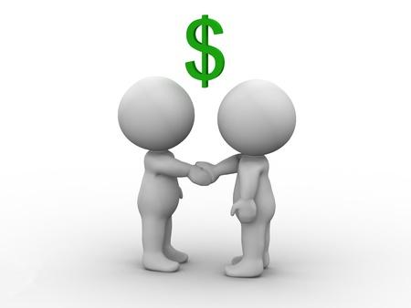 mano con dinero: Hombres 3D estrechando manos y signo de d�lar