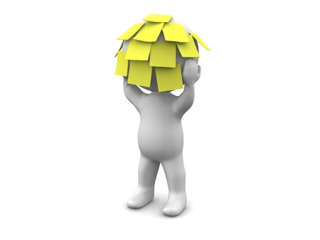 3D Man with many sticky notes on his head Stock Photo
