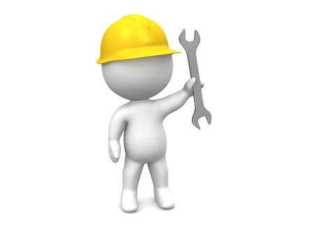 3D Man with hard hat and wrench Stock Photo