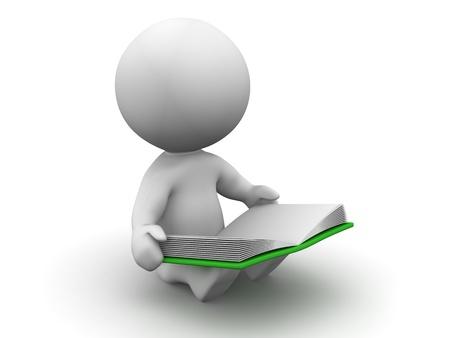 3D Man Reading a Book Banque d'images