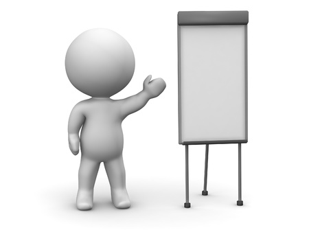 3D Man Whiteboard Presentation