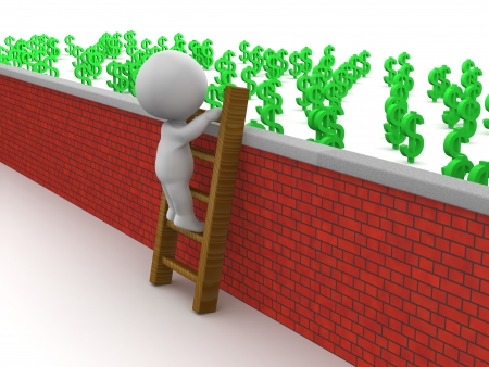 3D Man Climbing Ladder to get to money over wall
