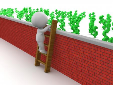 climbing wall: 3D Man Climbing Ladder to get to money over wall