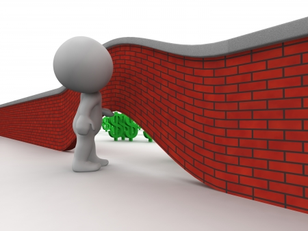 3D Man Looking under wall to money on other side Stock Photo