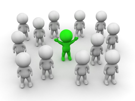 3D Man Stands Out from the crowd Stock Photo