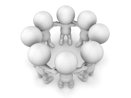 3 D 男性サークル チームワークの概念で手をつないで