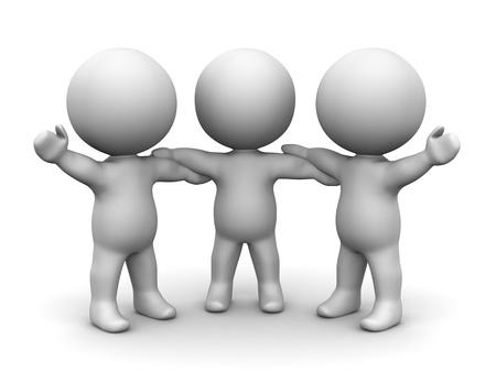 3D Men holding hands teamwork concept Stock Photo