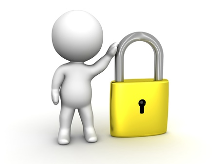 3D Man leaning on PadLock Security concept photo