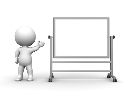 3D Man presenting Large Whiteboard photo