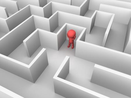 3D Mann verloren in einem Labyrinth
