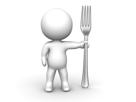 3D Man with Fork Stock Photo