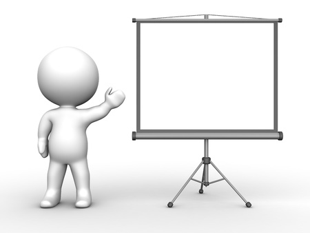 3D Man presenting Large Projector Screen Stock Photo