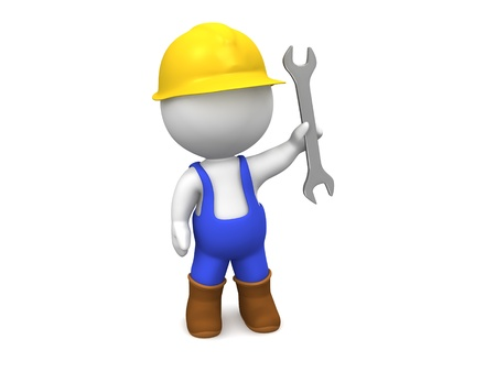 3D Mann mit Schutzhelm, Schraubenschl�ssel, und Overalls