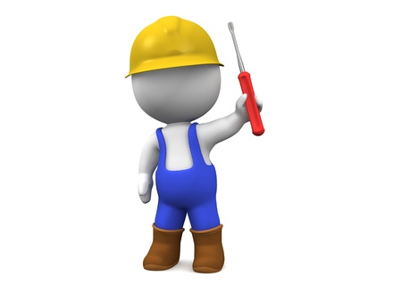 technical service: 3D Man with Hard Hat, Screwdriver, and Overalls