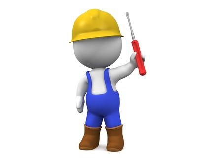 3D Mann mit Schutzhelm, Schraubenzieher, und Overalls